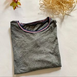 Madewell Stripe Crewneck Gray Short-Sleeve T-Shirt